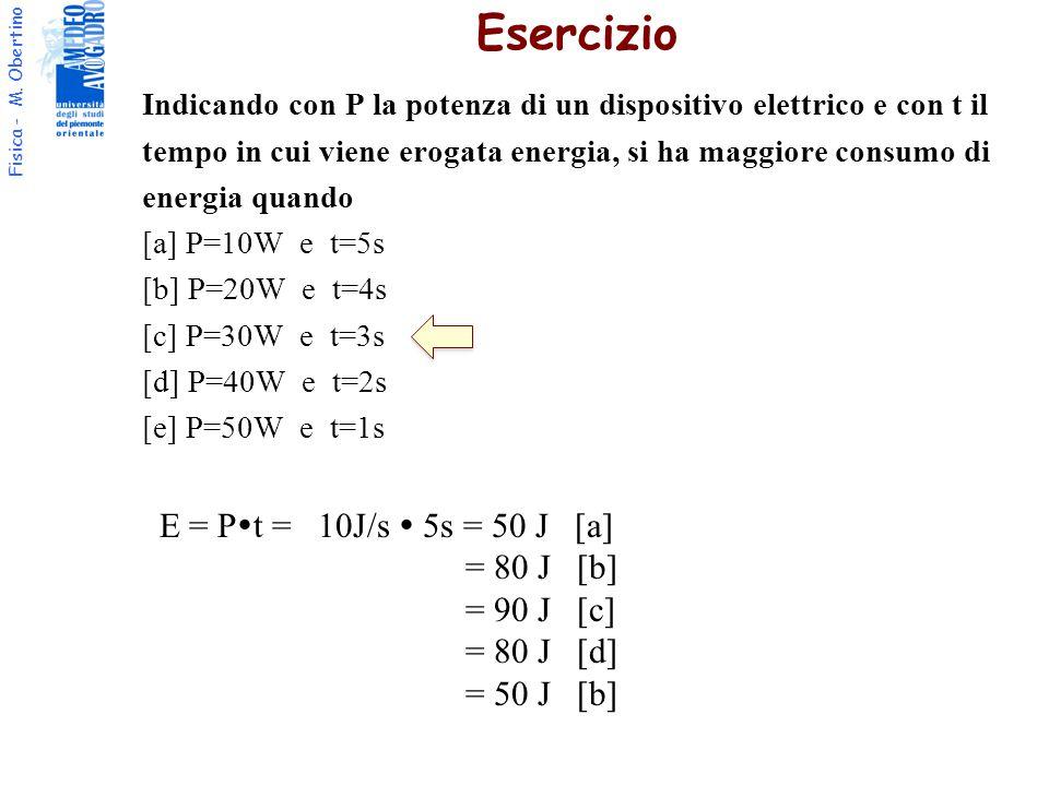 Esercizio E = Pt = 10J/s  5s = 50 J [a] = 80 J [b] = 90 J [c]